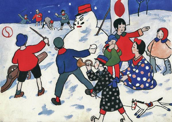 Wall Art - Painting - Snowball Fight - Digital Remastered Edition by Takehisa Yumeji