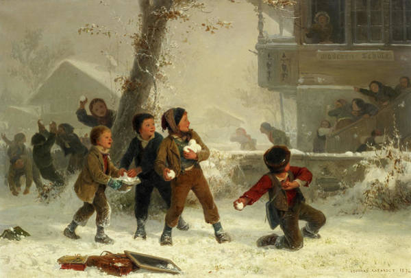 Wall Art - Painting - Snowball Fight by Edouard Girardet