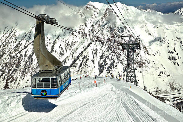Photograph - Snowbird Blue Tram Car At Hidden Peak by Adam Jewell