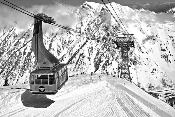 Photograph - Snowbird Blue Tram Car At Hidden Peak Black And White by Adam Jewell