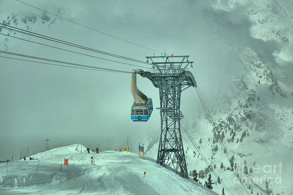 Photograph - Snowbird Blue Tram Car In The Clouds by Adam Jewell