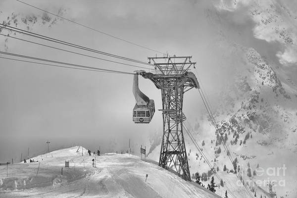 Photograph - Snowbird Blue Tram Car In The Clouds Black And White by Adam Jewell