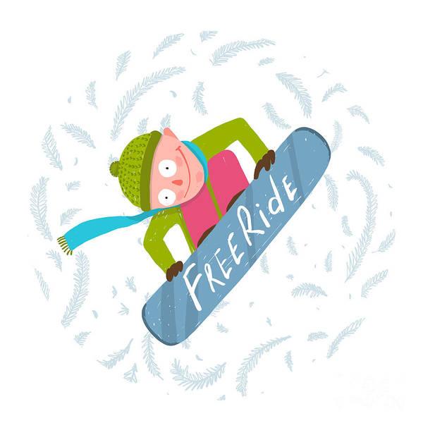 Snowboard Funky Free Rider Jump Fun Art Print