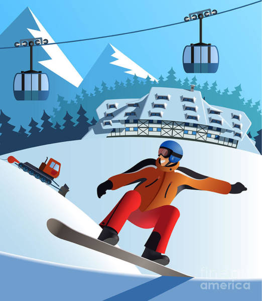 Wall Art - Digital Art - Snowboard Winter Resort by Nikola Knezevic