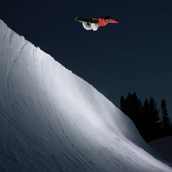 Aspen Photograph - Snowboarder In Halfpipe At Dusk by Brian Bailey