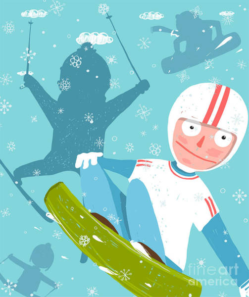 Wall Art - Digital Art - Snowboarding And Skiing Funny Free by Popmarleo