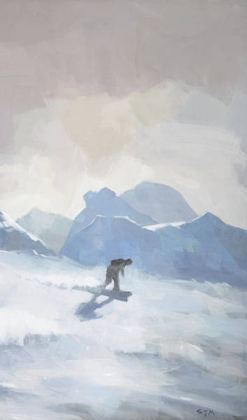 Wall Art - Painting - Snowboarding At Les Arcs by Steve Mitchell