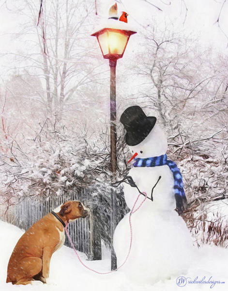 Fence Post Digital Art - Snowdude by Rick Wiles