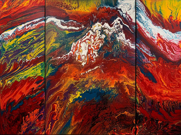 Painting - Snowfire Peaks Triptych  by Lon Chaffin