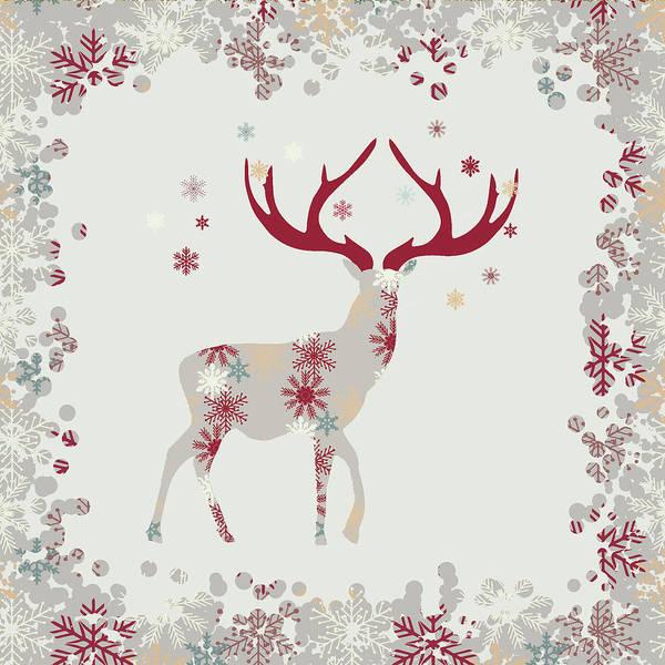 Deer Mixed Media - Snowflake Christmas Stag I by Amanda Lakey