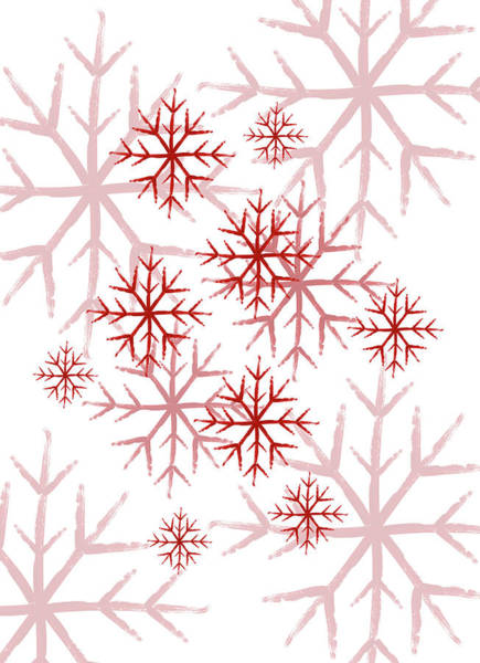 Drawing - Snowflakes In Red by Jocelyn Friis