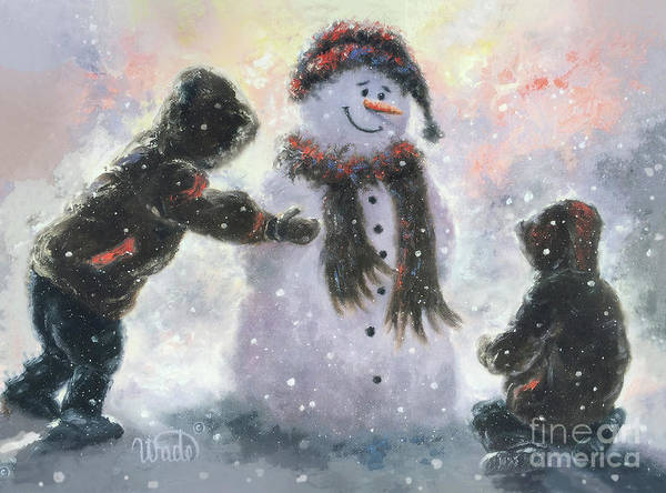 Wall Art - Painting - Snowman And Two Boys by Vickie Wade