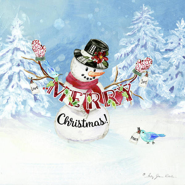 Wall Art - Painting - Snowman Christmas Love Joy Peace by Audrey Jeanne Roberts