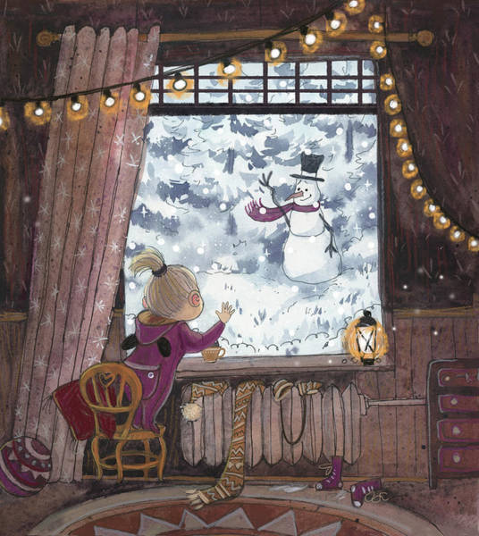 Trimming Painting - Snowman by Ema Malyauka