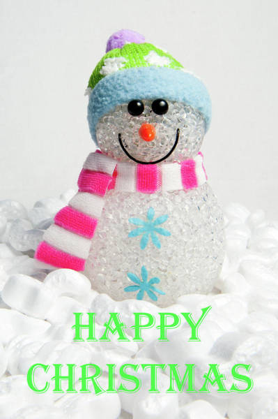 Photograph - Snowman - Happy Christmas by Helen Northcott