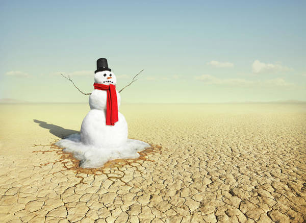 Out Of Context Photograph - Snowman In The Desert by Stephen Swintek