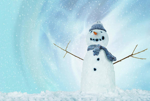 Knit Hat Photograph - Snowman With Arms Open by Gandee Vasan