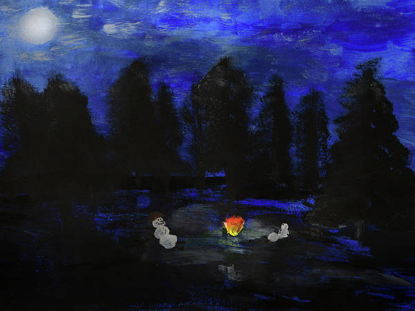 Painting - Snowmen Enjoy The Campfire  by Chance Kafka