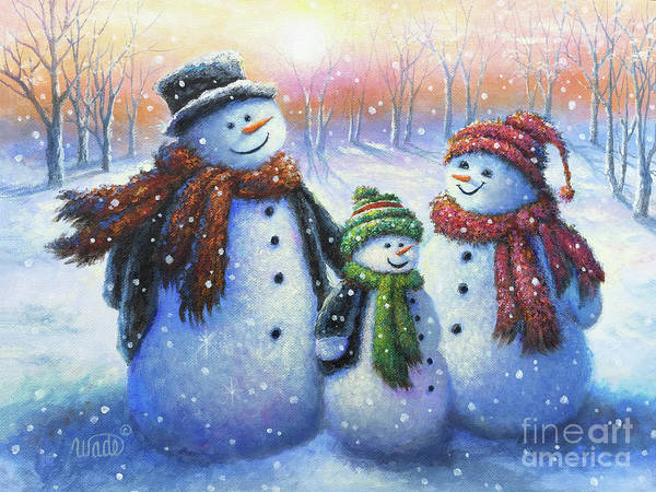 Wall Art - Painting - Snowmen Family Dad Mom Son by Vickie Wade