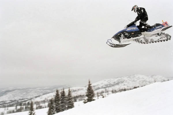 Wall Art - Photograph - Snowmobile In Flight by Seth Goldfarb