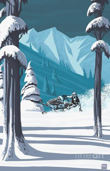 Digital Art - Snowmobile Landscape by Sassan Filsoof