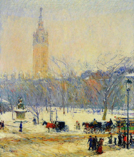 Wall Art - Painting - Snowstorm, Madison Square - Digital Remastered Edition by Frederick Childe Hassam