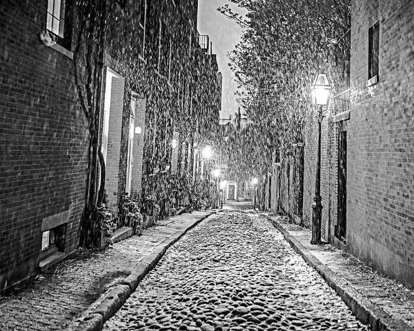 Photograph - Snowstorm On Acorn Street Boston Ma Black And White by Toby McGuire