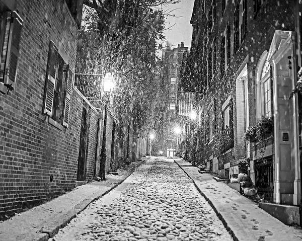 Photograph - Snowstorm On Acorn Street Boston Ma Cobblestone Black And White by Toby McGuire