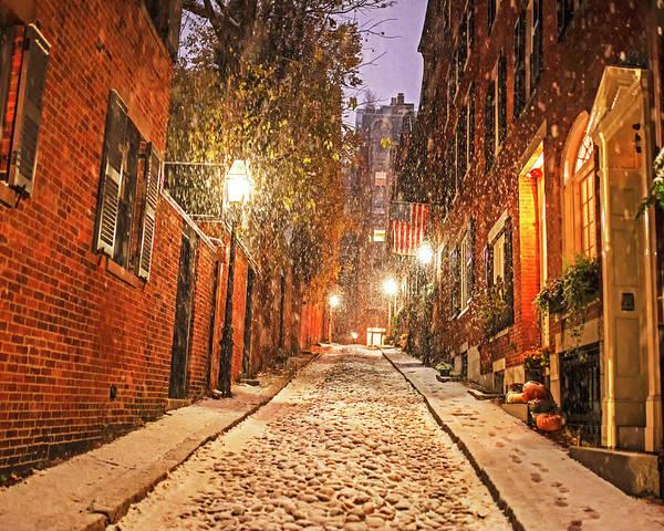 Photograph - Snowstorm On Acorn Street Boston Ma Cobblestone by Toby McGuire
