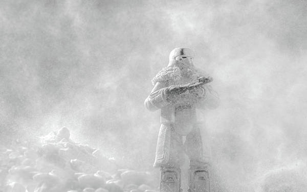 Galactic Empire Photograph - Snowtrooper In An Arctic Snow Storm. by David Ilzhoefer