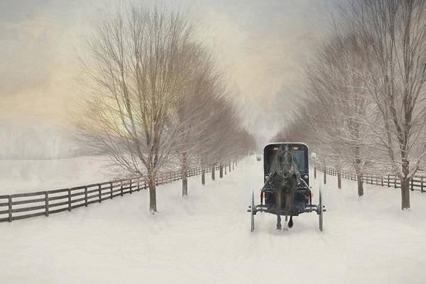 Fence Mixed Media - Snowy Amish Lane by Lori Deiter