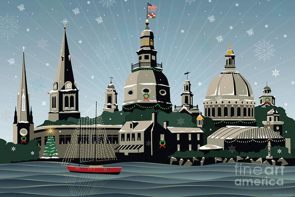 Cupola Digital Art - Snowy Annapolis Holiday by Joe Barsin
