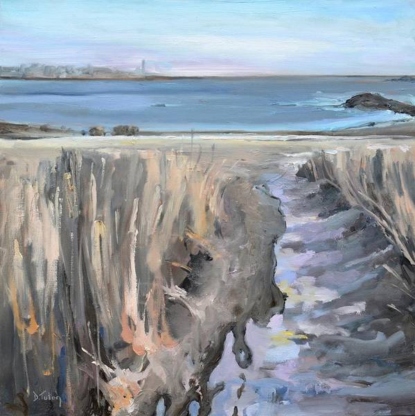 Painting - Snowy Beach At Scituate Massachusetts by Donna Tuten