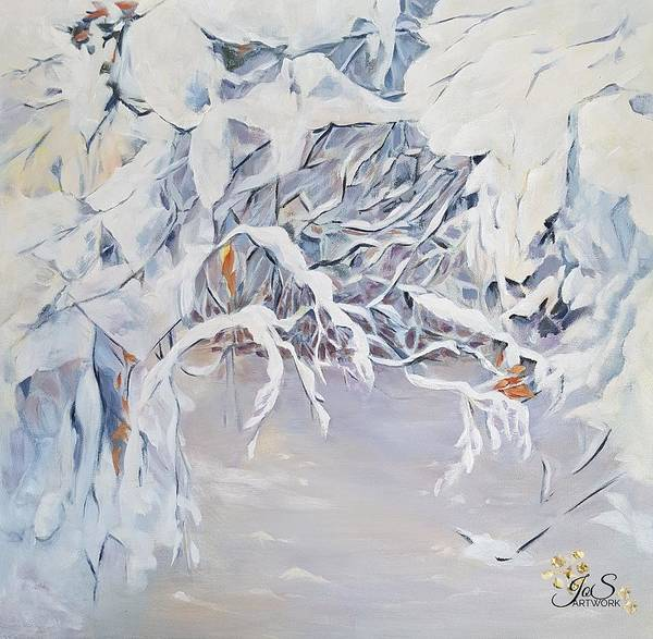Painting - Snowy Branches In Neutrals by Joanne Smoley