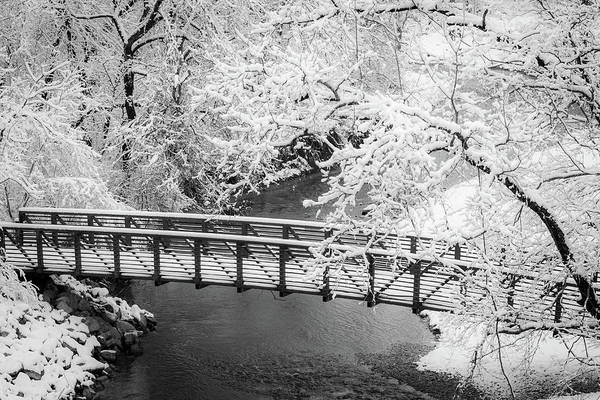 Snowy Bridge On Mill Creek Art Print