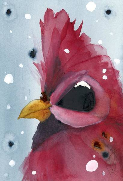 Painting - Snowy Cardinal Portrait by Dawn Derman