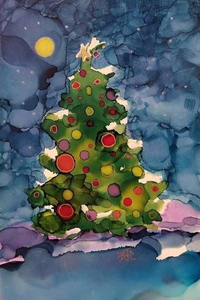 Wall Art - Painting - Snowy Christmas Tree by Billie Colson