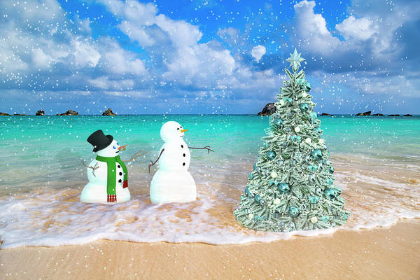 Wall Art - Digital Art - Snowy Couple On Christmas Tree Beach by Betsy Knapp
