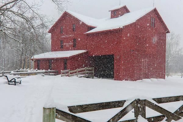 Snowy Day At Bonneyville Mill Art Print
