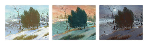 Scumble Wall Art - Digital Art - Snowy Day Triptych, Horizontal by Matthew Sample