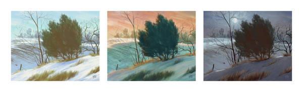 Fence Post Digital Art - Snowy Day Triptych, Horizontal by Matthew Sample