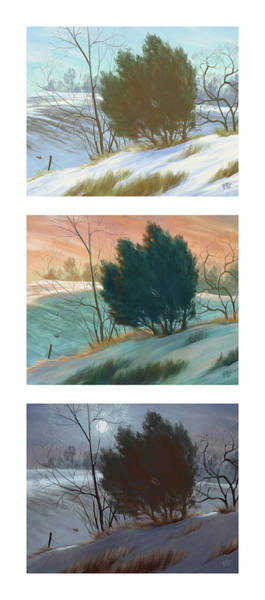 Fence Post Digital Art - Snowy Day Triptych, Vertical by Matthew Sample