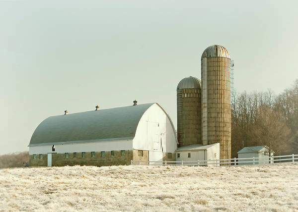 Silo Photograph - Snowy Farm by Todd Klassy