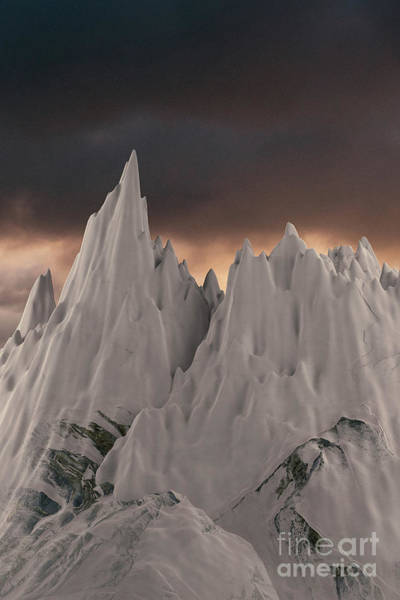 Digital Art - Snowy Mountain 006 by Clayton Bastiani