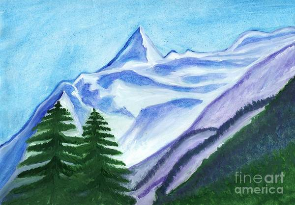 Painting - Two Mountain Spruce Against The Backdrop Of Snow-capped Peak by Irina Dobrotsvet