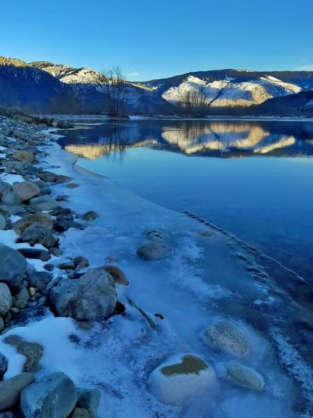 Photograph - Snowy Mountains Along The Similkameen River by Tara Turner