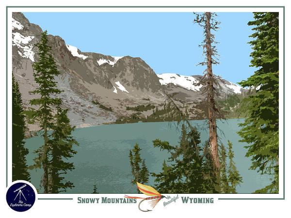 Teton National Park Digital Art - Snowy Mountains Travel Poster by John Ulrich
