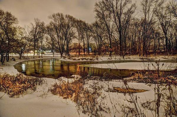 Digital Art - Snowy Night On The Clinton River V3 Dsc_0098 by Michael Thomas