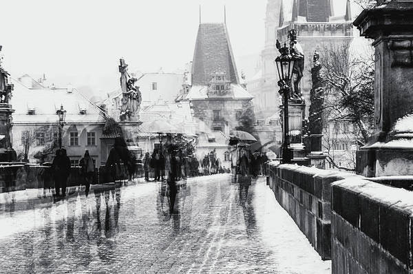 Wall Art - Photograph - Snowy Prague. Timeless Charles Bridge Monochrome by Jenny Rainbow