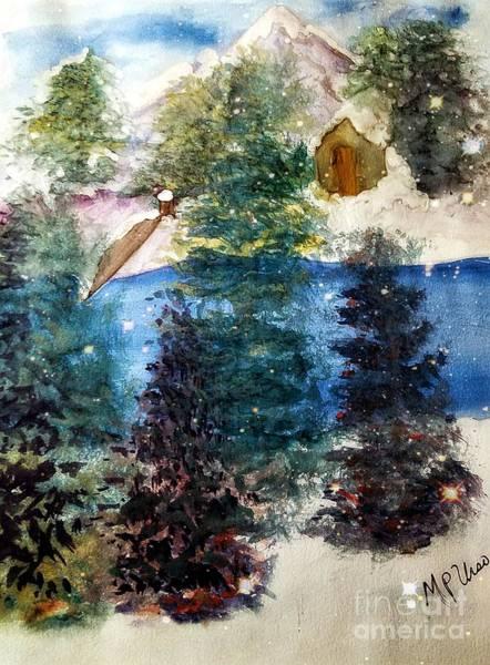 River Scene Mixed Media - Snowy River Cabin by Maria Urso